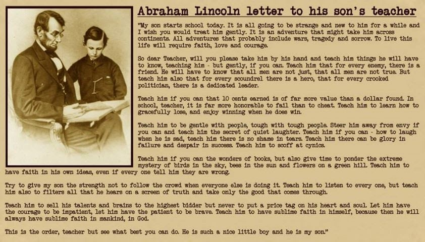 Abraham Lincoln Letter to his Son's Teacher | PremAseem.com