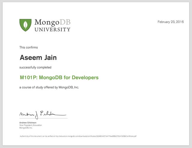 MongoDB Dev Certificate