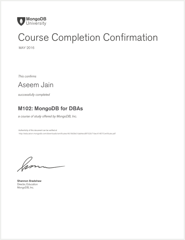 DBA_Database_Administrator_certificate_for_mongo_DB_Aseem_Jain_2016