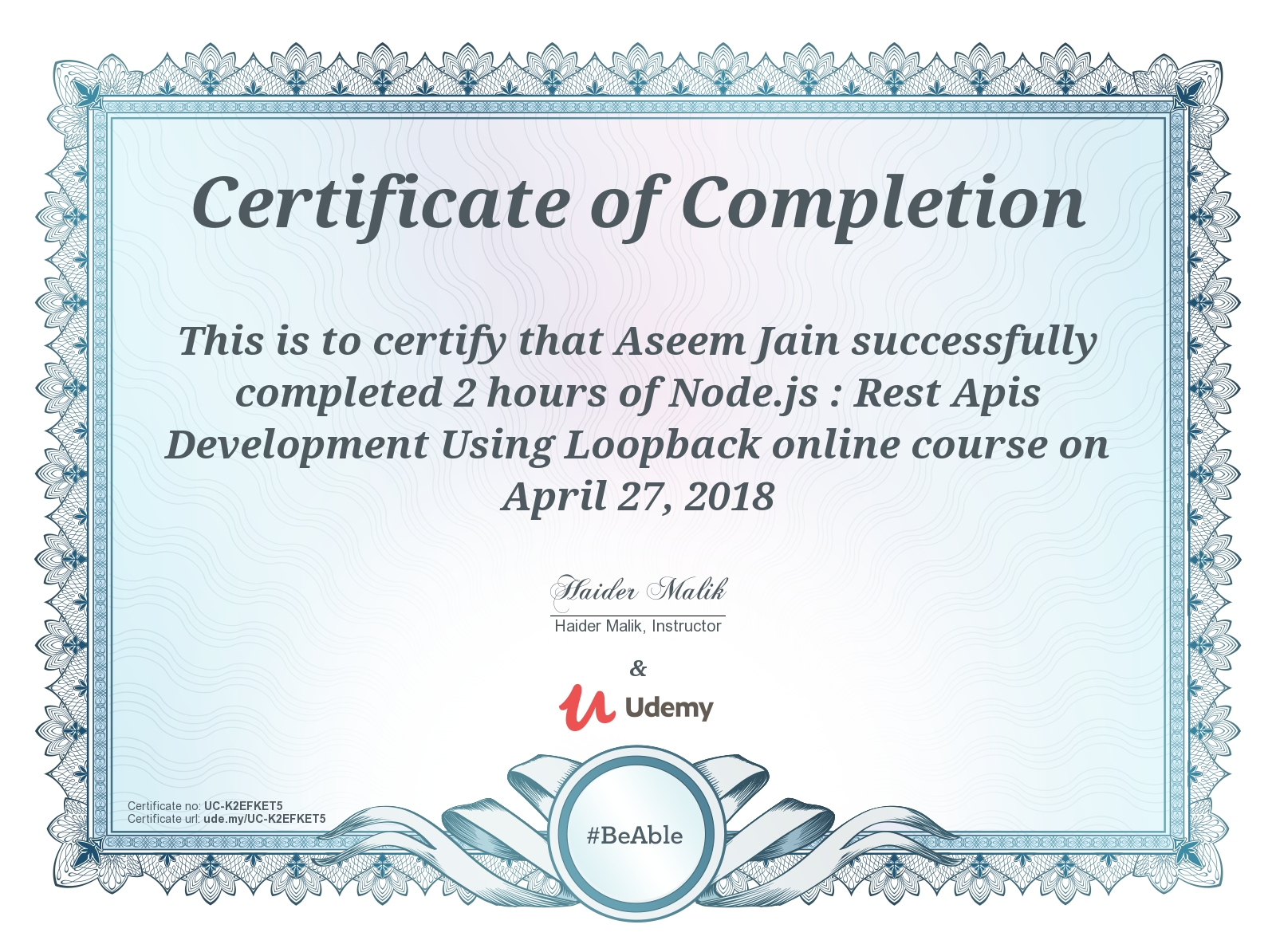 Certificate Loopback Course Completion Premaseem